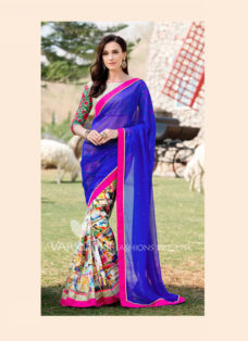 IMPRESSIVE BLUE DESIGNER PARTY WEAR SAREE
