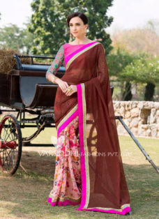 IMPRESSIVE BROWN PRINTED PARTY WEAR SAREE