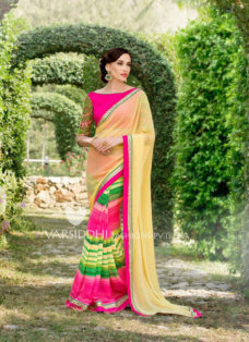 IMPRESSIVE CREAM STRIPED PARTY WEAR SAREE