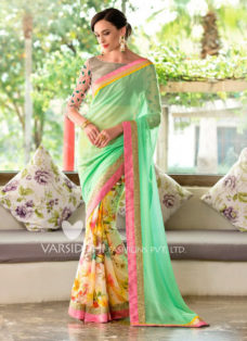 IMPRESSIVE SEA GREEN PARTY WEAR SAREE