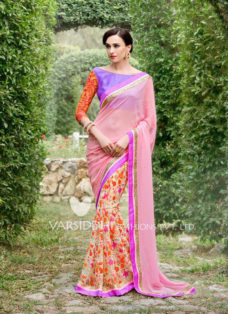 IMPRESSIVE PINK AND PURPLE DESIGNER SAREE