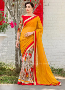 IMPRESSIVE YELLOW AND RED PRINTED SAREE