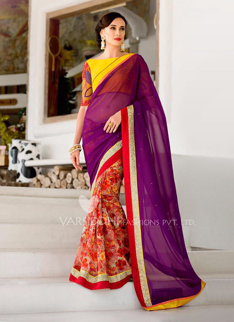IMPRESSIVE PURPLE PARTY WEAR SAREE