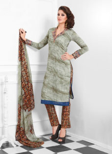 STRIKING GREY AND BROWN COTTON SILK SUIT