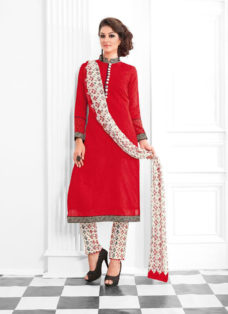 STRIKING RED AND CREAM COTTON SILK SUIT