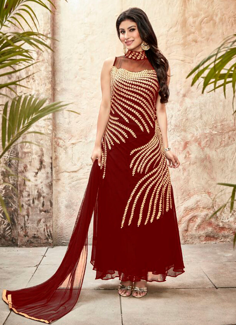 MOUNI ROY RED EMBROIDERED DESIGNER SUIT