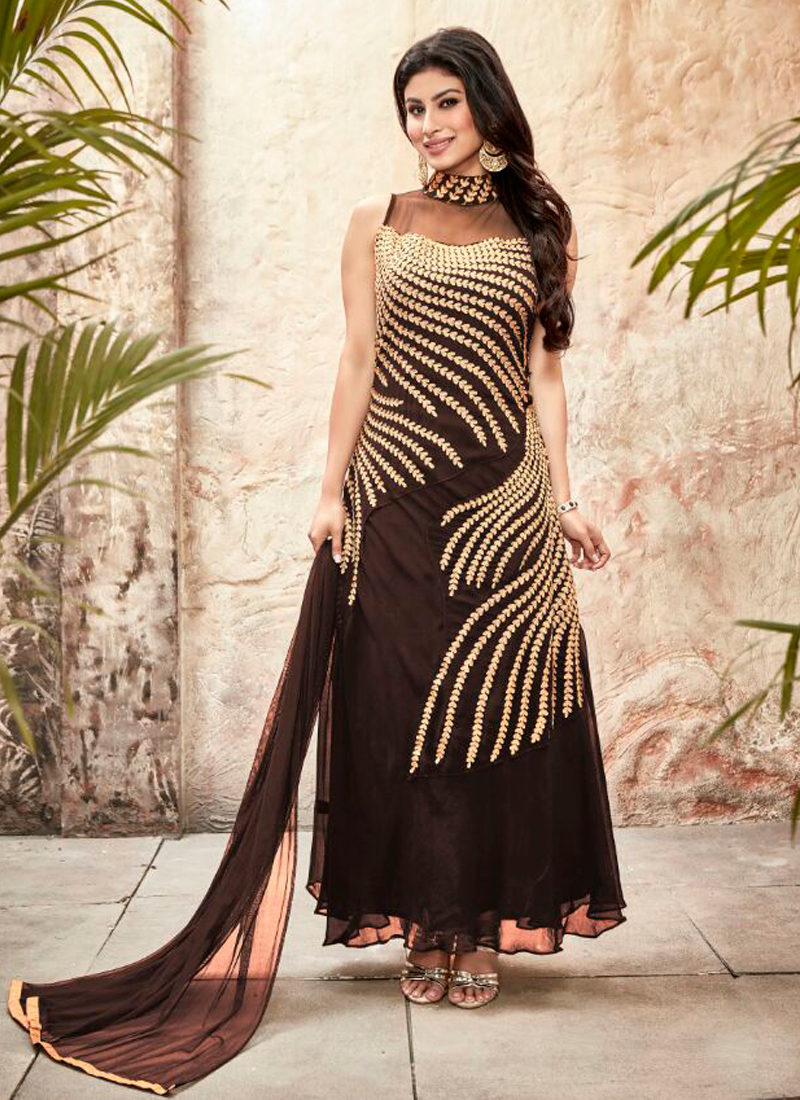 MOUNI ROY BROWN EMBROIDERED DESIGNER SUIT