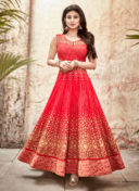 MOUNI ROY RED EMBROIDERED ANARKALI SUIT