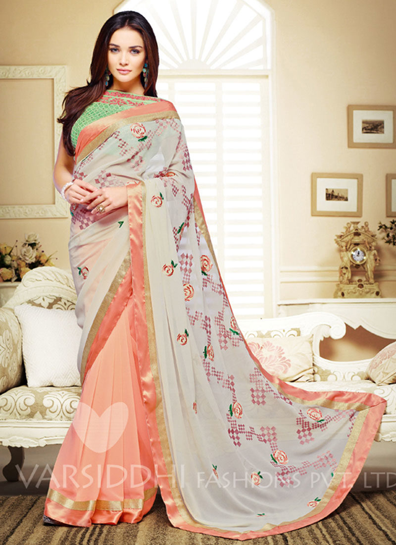 AMY JACKSON PEACH EMBROIDERED SAREE