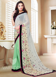 AMY JACKSON GREEN EMBROIDERED SAREE