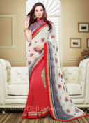 AMY JACKSON RED EMBROIDERED SAREE