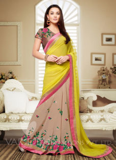 AMY JACKSON YELLOW PARTY WEAR SAREE