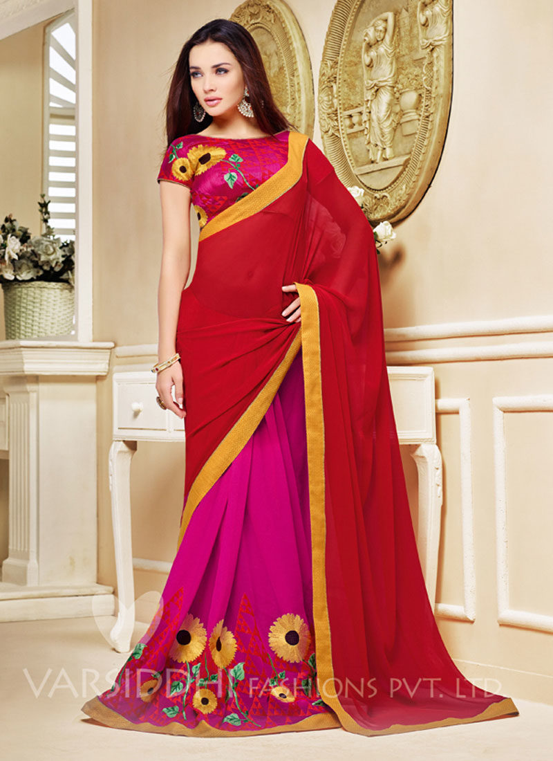 AMY JACKSON RED AND PINK DESIGNER SAREE
