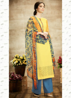 ENTICING YELLOW COTTON PALAZZO SUIT