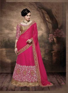 ALLURING FUCHSIA EMBROIDERED LEHENGA SAREE