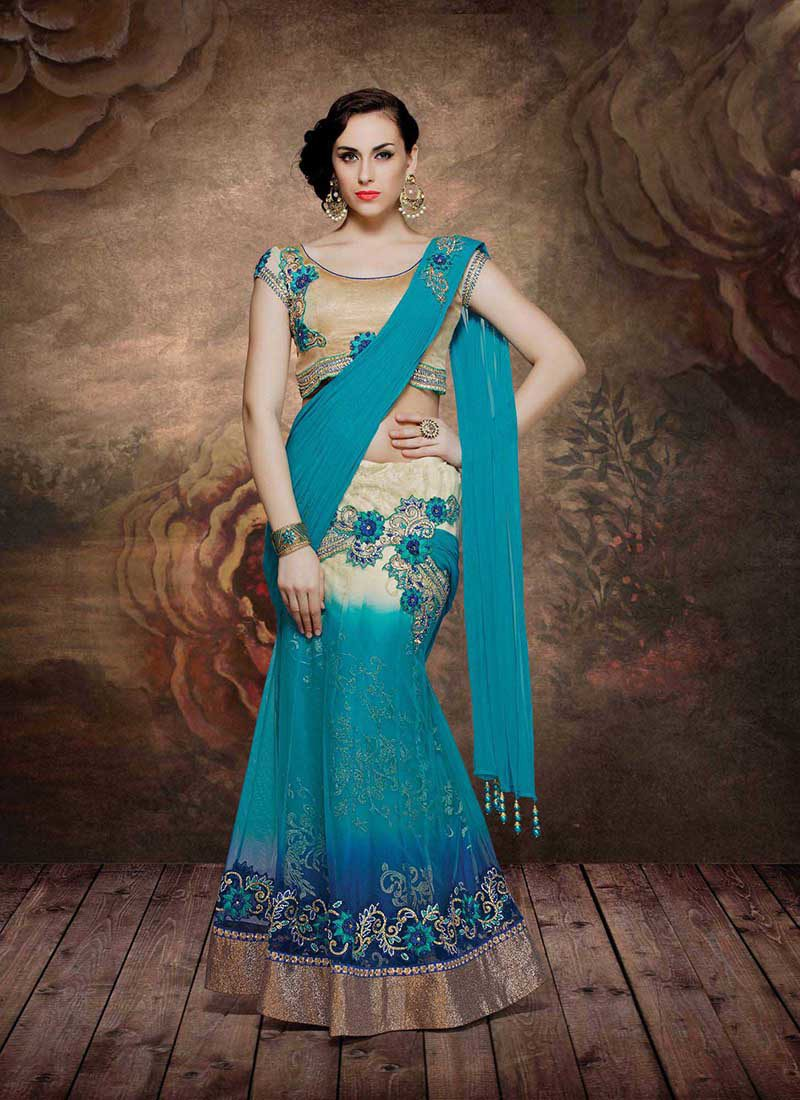 ALLURING BLUE OMBRE EMBROIDERED LEHENGA SAREE