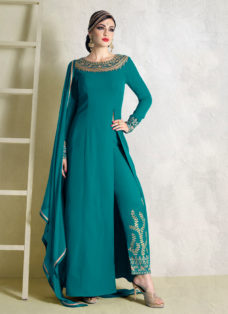 IMPECCABLE TURQUOISE EMBROIDERED PARTY WEAR SUIT