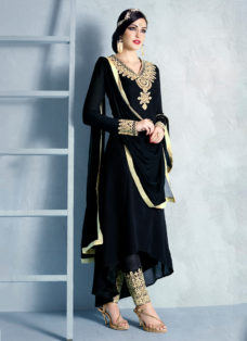 IMPECCABLE BLACK EMBROIDERED PARTY WEAR SUIT