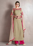 IMPECCABLE BEIGE N PINK EMBROIDERED PALAZZO SUIT
