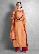 IMPECCABLE ORANGE N RED EMBROIDERED PALAZZO SUIT
