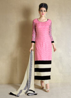 IMPECCABLE PINK N CREAM SCHIFFLI WORK DESIGNER SUIT