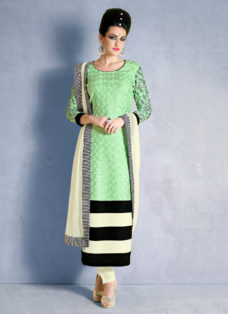 IMPECCABLE GREEN N CREAM SCHIFFLI WORK DESIGNER SUIT