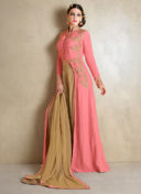 IMPECCABLE PEACH N BEIGE EMBROIDERED INDO WESTERN SUIT