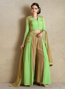 IMPECCABLE GREEN N BEIGE EMBROIDERED INDO WESTERN SUIT