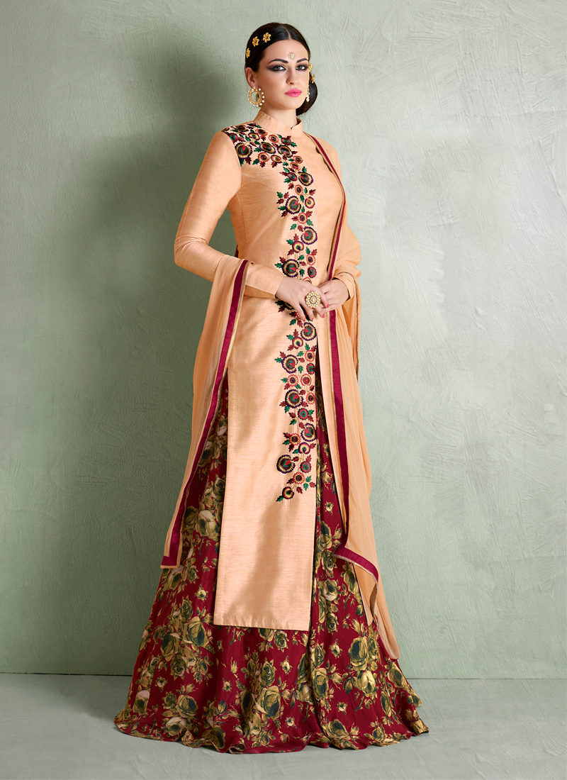 IMPECCABLE ORANGE BHAGALPURI SILK PARTY WEAR DRESS
