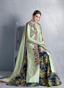 IMPECCABLE GREEN BHAGALPURI SILK PARTY WEAR DRESS