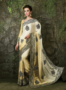 FINESSE CREAM OMBRE SILK DESIGNER BRIDAL SAREE