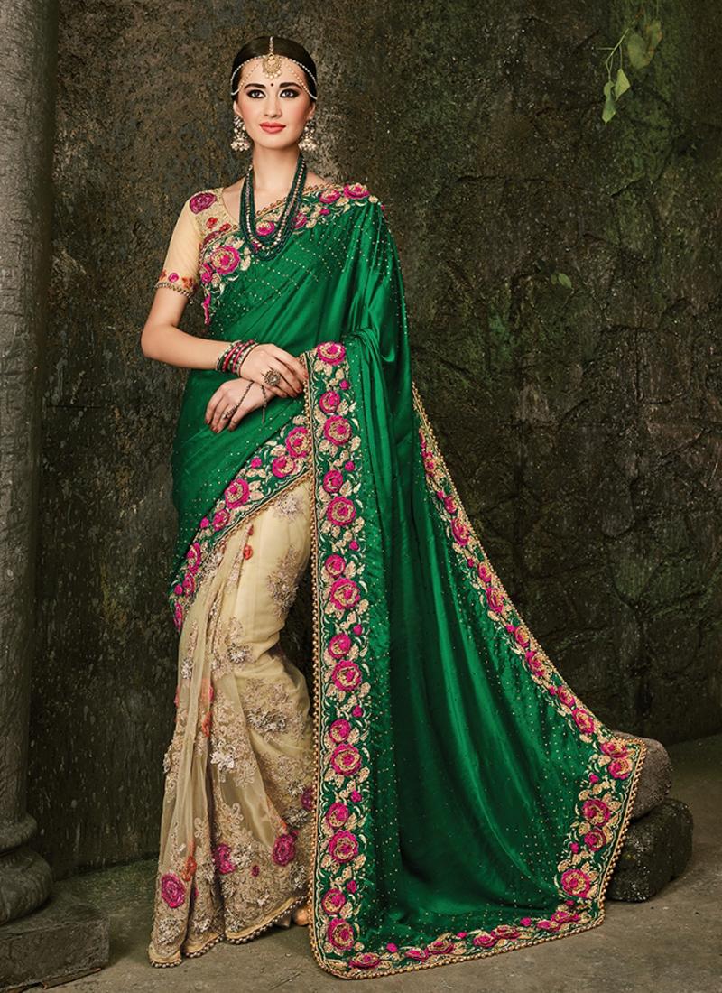 finesse green n beige embroidered wedding saree