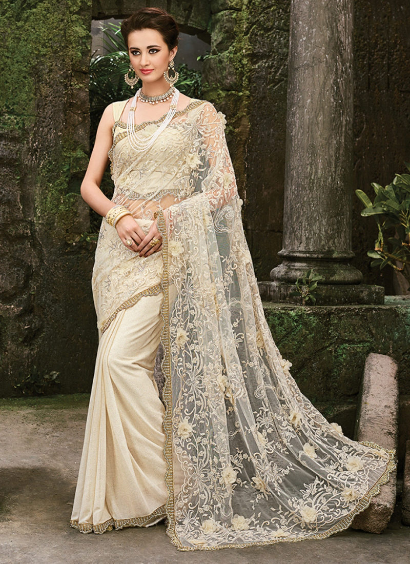 c6d992eb7aed12 FINESSE CREAM EMBROIDERED PARTY WEAR SAREE
