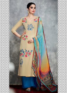 TIMELESS BEIGE N BLUE EMBROIDERED PALAZZO SUIT