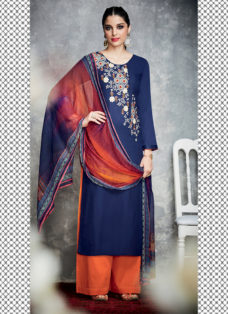TIMELESS DEEP BLUE FLORAL EMBROIDERED PALAZZO SUIT