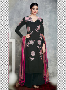 TIMELESS BLACK FLORAL EMBROIDERED PALAZZO SUIT