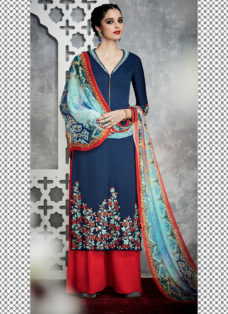 TIMELESS BLUE N ORANGE FLORAL EMBROIDERED PALAZZO SUIT
