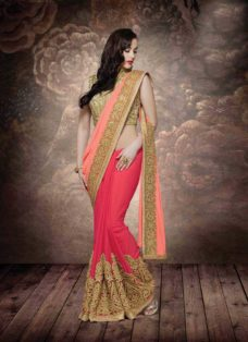ALLURING PEACH N RED PARTY WEAR SAREE