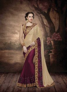 ALLURING GOLDEN N MAROON EMBROIDERED SAREE