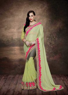 ALLURING LIME GREEN EMBROIDERED DESIGNER SAREE