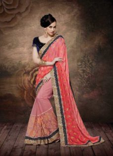ALLURING GAJRI PINK EMBROIDERED DESIGNER SAREE
