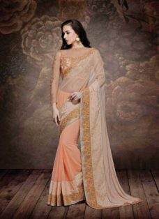 ALLURING LIGHT PEACH EMBROIDERED DESIGNER SAREE