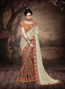 ALLURING MULTI COLORED EMBROIDERED SAREE