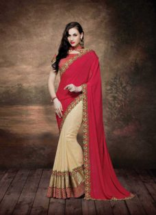 ALLURING RED N GOLDEN EMBROIDERED SAREE