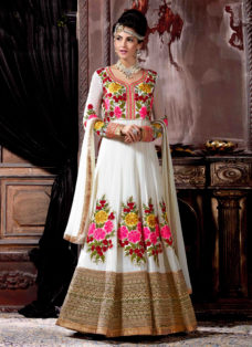 MESMERISING OFF WHITE EMBROIDERED ANARKALI SUIT