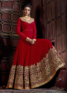 MESMERISING MAROON EMBROIDERED ANARKALI SUIT