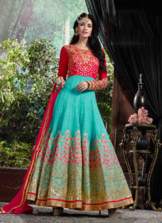 MESMERISING RED N AQUA EMBROIDERED ANARKALI