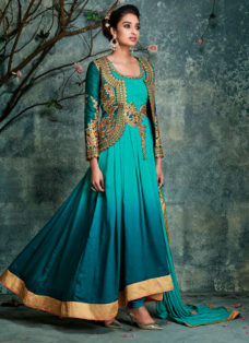 DESIRABLE TEAL GREEN EMBROIDERED ANARKALI SUIT