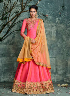 DESIRABLE CORAL PINK EMBROIDERED ANARKALI SUIT