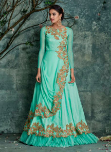 DESIRABLE MINT GREEN EMBROIDERED DESIGNER GOWN